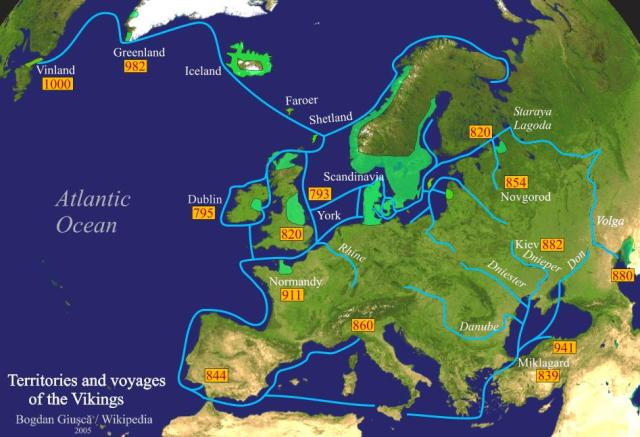 Viking expeditions (blue): depicting the immense breadth of their voyages throughout most of Europe, the Mediterranean Sea, Northern Africa, Asia Minor, the Arctic and North America (going into Russia were Swedish Vikings).